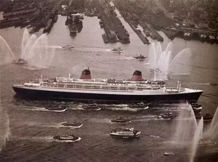 SS France New York Harbor Water Salute 1962