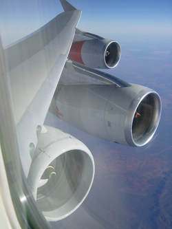 Qantas Extra Mounted Engine Taken by Passenger.