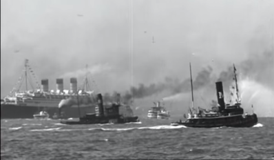 Queen Marry New York Harbor Water Salute 1936